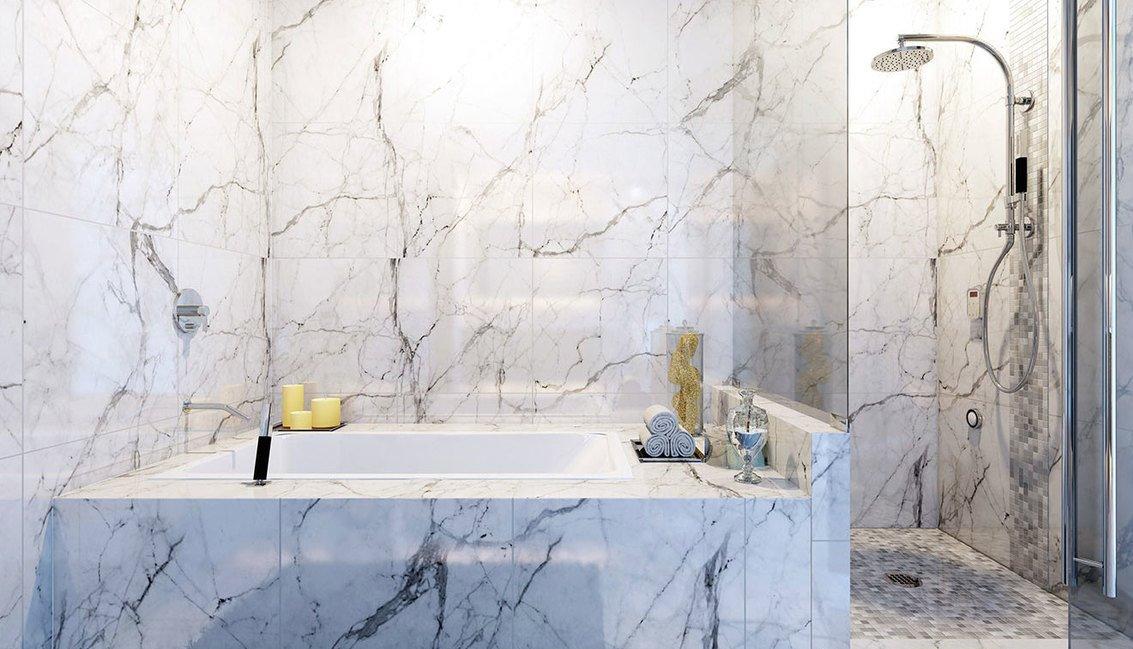 Casa de banho em branco estatuário